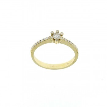 Engagement ring, 14k yellow gold with white diamond