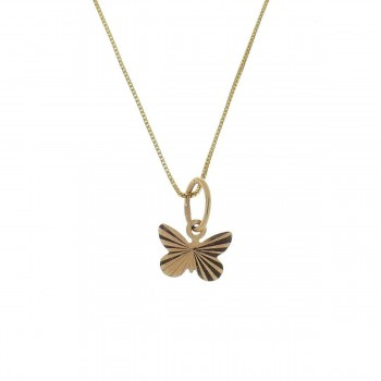 Pendant for a child - butterfly, red gold 585 14 carats