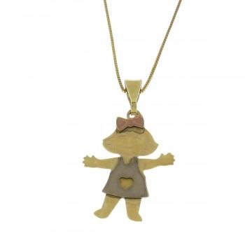 Кулон для ребенка, желтое и красное золото 14 карат
