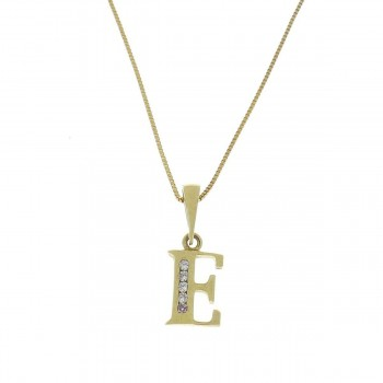 Pendant for a child - letter E yellow gold 585 14 carats