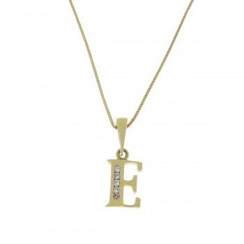Кулон для ребенка - буква Е, желтое золото 585 14 карат