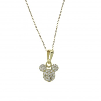 Pendant for a child - Mickey Mouse, 14K yellow gold with zirconia