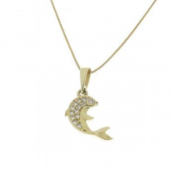 Pendant for a child - dolphin, yellow gold 585 14 carats