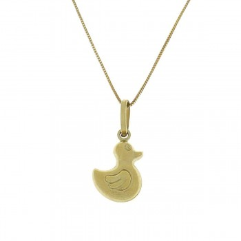 Pendant for a child - duck, yellow gold 585 14 carats