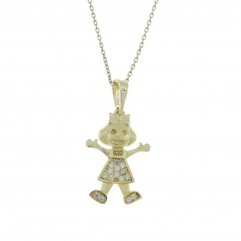 Pendant for a child - girl, 14k yellow gold