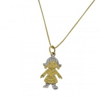 Кулон для ребенка, желтое и белое золото 14 карат