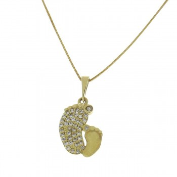 Pendant for a child - foot, 14k yellow gold