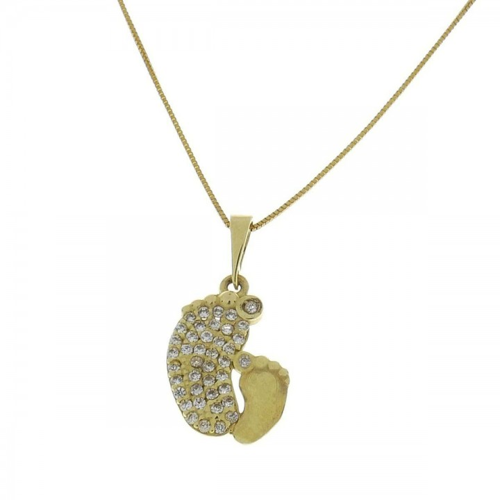Кулон для ребенка - стопа, желтое золото 14 карат