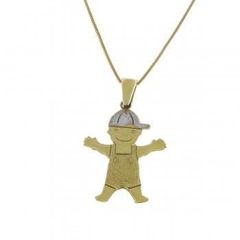 Кулон для ребенка - мальчик, желтое золото 14 карат