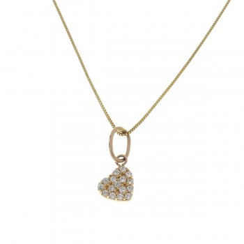Pendant for a child - heart, yellow gold 585 14 carats