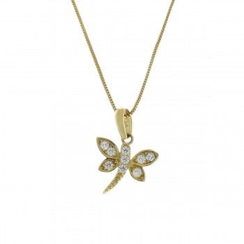 Pendant for a child - butterfly, yellow gold 585 14 carats