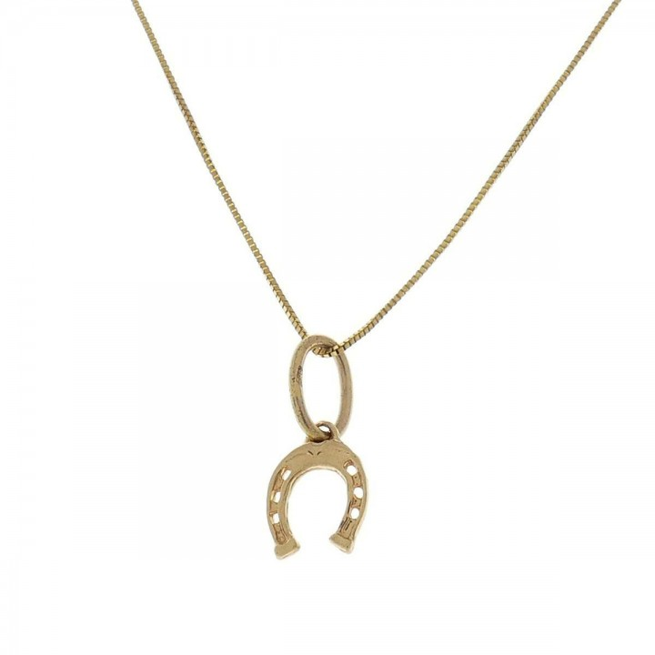Pendant for a child - horseshoe, yellow gold 585 14 carats