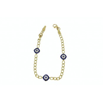 Gold bracelet for children, yellow gold 14 k with zirconium, weight 3.85 grams