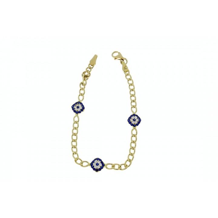 Золотой браслет детский, желтое золото 14 к с цирконием, вес 3,85 грамма