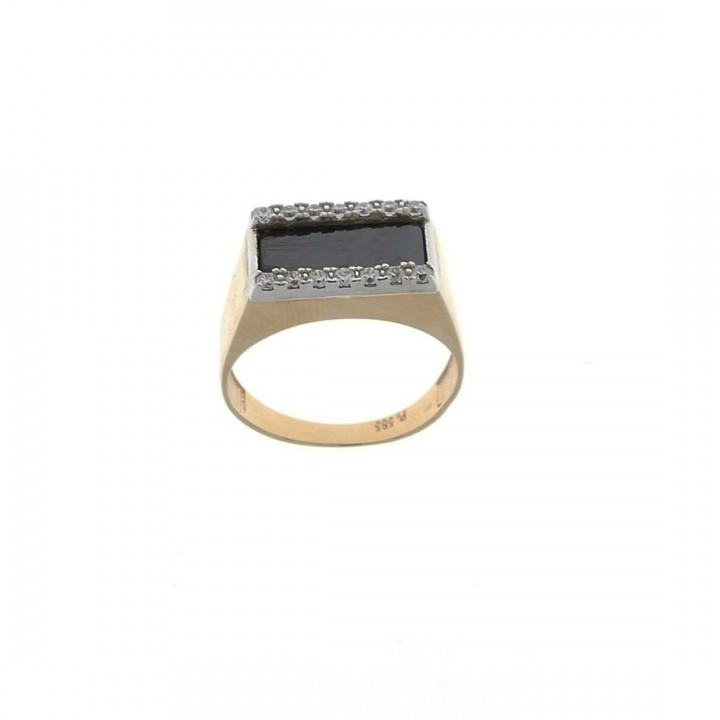 Gold men`s ring, yellow gold, black onyx and zirconium