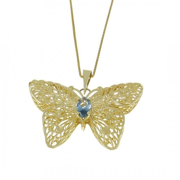 Pendant for woman - butterfly, yellow gold with topaz, weight 1,68 grams