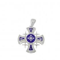 Золотая подвеска - Иерусалимский крест, белое золото с бриллиантами, вес 4,5 грамма