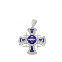 Gold Pendant - Jerusalem Cross, white gold with diamonds, weight 4,5 grams