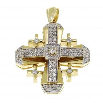 Jerusalem Cross, 14K yellow gold with diamonds