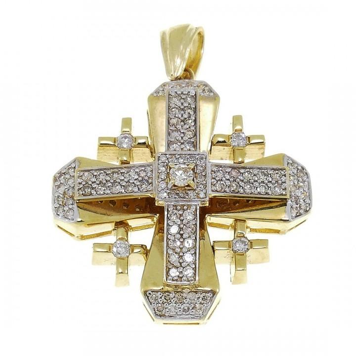 Gold Pendant - Jerusalem Cross, yellow gold with diamonds, weight 15,23 gram