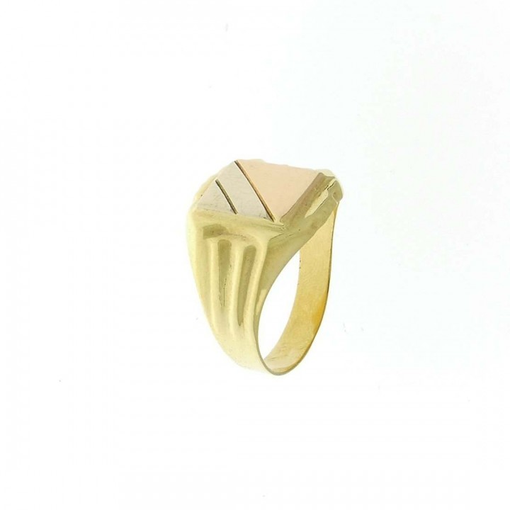 Gold men`s ring, yellow, white, red gold