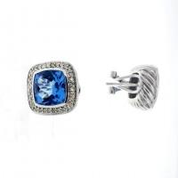 Золотые серьги с белыми бриллиантами и голубым топазом, белое золото