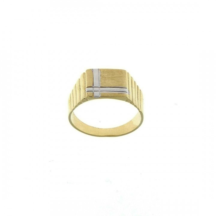 Gold men`s ring, yellow and white gold