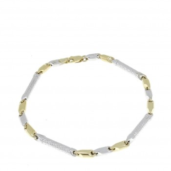 Bracelet for a man, 14K yellow and white gold