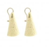 Серьги для женщины - треугольники, желтое золото, вес 6,86 грамм