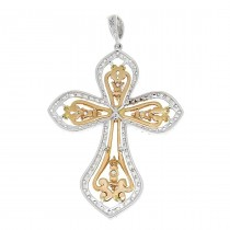 Gold pendant - Cross, white and red gold with diamonds, weight 4.43 grams