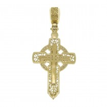 Gold pendant - Cross, yellow and white gold with diamonds, weight 6.4 g