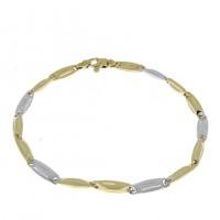 Золотой браслет, желтое и белое золото, длина 21 см