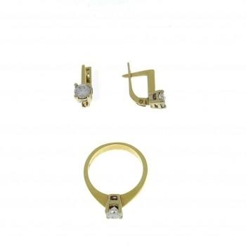Набор для женщины - кольцо и серьги, желтое золото с бриллиантами