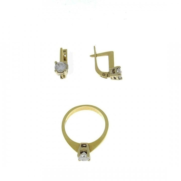 Set for women - ring and earrings, yellow gold with diamonds