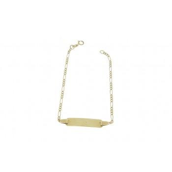 Золотой браслет детский, желтое золото 14 к, вес 1,92 грамма