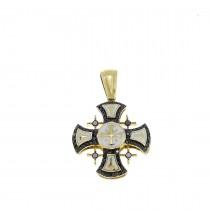 Золотая подвеска - Иерусалимский крест, желтое золото с бриллиантами, вес 3,3 грамма