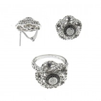 Set for women - ring and earrings, white gold with diamonds