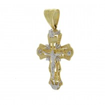 Gold pendant - cross, yellow and white gold, weight 9.09 gr