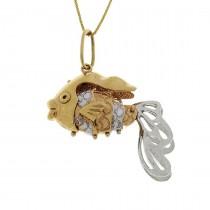 Кулон для женщины - рыбка, желтое и белое золото, вес 5,08 грамма