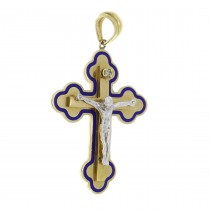 Gold pendant - Cross, yellow and white gold with a diamond, weight 8.93 grams