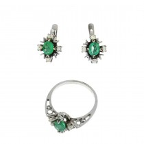 Women's set - ring and earrings, white gold with diamonds and emeralds