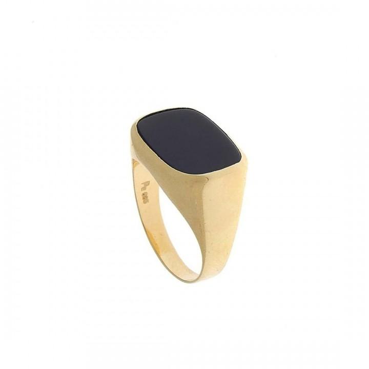 Золотое мужское кольцо, желтое золото с ониксом, вес 5,79 грамм