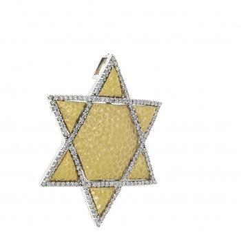 Золотая подвеска - звезда Давида, желтое золото с бриллиантами, вес 4,36 грамма