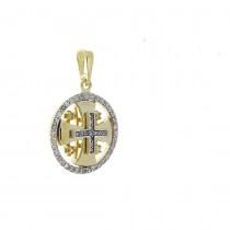 Gold Pendant - Jerusalem Cross, yellow gold with diamonds, weight 2.53 grams