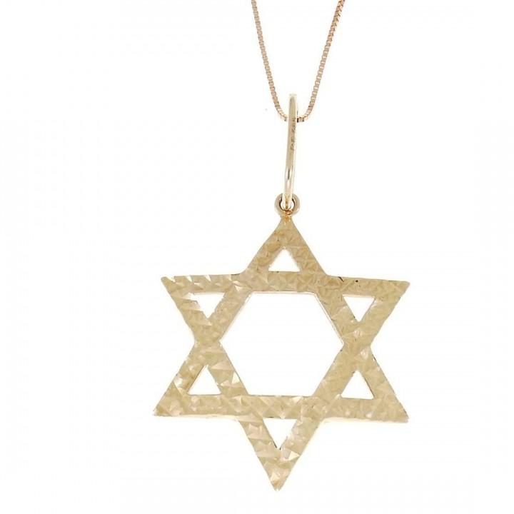 Золотая подвеска - звезда Давида, красное золото, вес 1,7 грамм