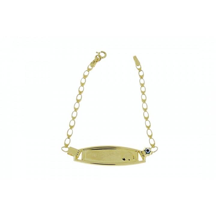 Золотой браслет детский, желтое золото 14 к, вес 2,27 грамма