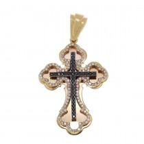 Золотая подвеска - Крест, красное золото с бриллиантами, вес 5,25 грамма