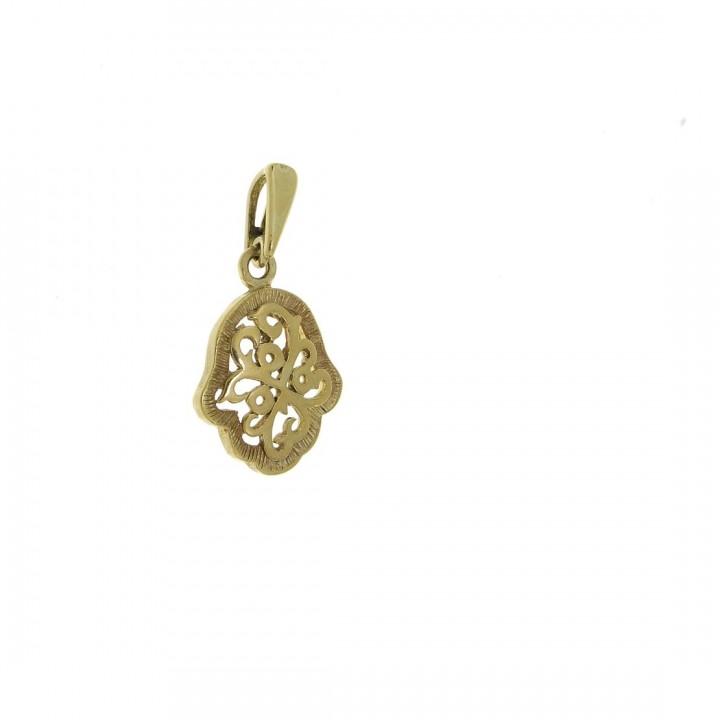 Золотая подвеска - Хамса, желтое золото, вес 2,16 гр