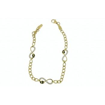 Золотой браслет детский, желтое золото 14 к с цирконием, вес 3,94 грамма