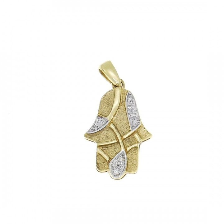 Золотая подвеска - Хамса, желтое золото с бриллиантами, вес 2,23 грамм